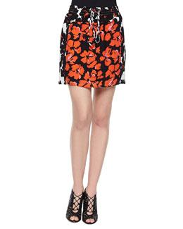Nicholson Floral-Print Drawstring Skirt