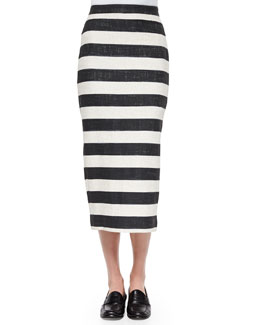 Guy Striped Pencil Midi Skirt