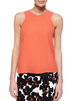 Brendan Satin/Crepe Sleeveless Top