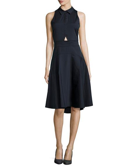 Santo Sleeveless Poplin A-Line Dress