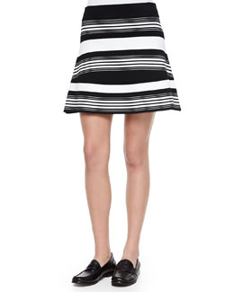 Judy Striped A-Line Knit Skirt