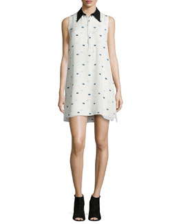 Reese Lips-Print Silk Dress