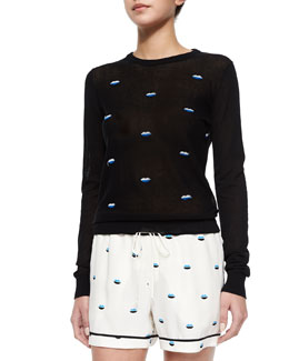 Tali Embroidered-Lips Knit Sweater