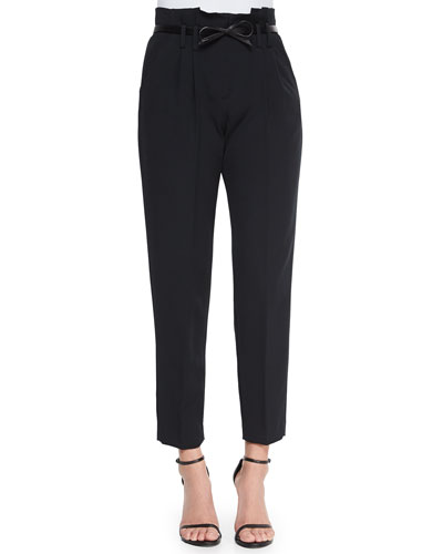 Paperbag Cropped Pleated Trousers