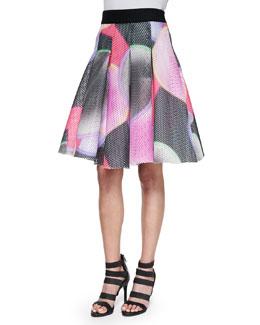 Glow-Print Mesh Tucked Skirt