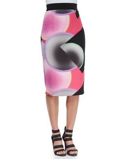 Glow-Print Pencil Skirt