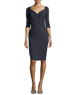 Lexi Polka-Dot 3/4-Sleeve Sheath Dress