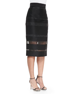 Striped Fil Coupe Midi Pencil Skirt