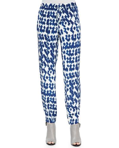 Ikat-Print Drawstring Pants