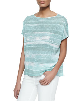 Striped Short-Sleeve Cocoon Top