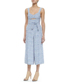 Tulip-Print Cutout Sleeveless Jumpsuit