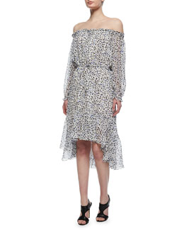 Camila Animal-Print Silk Dress