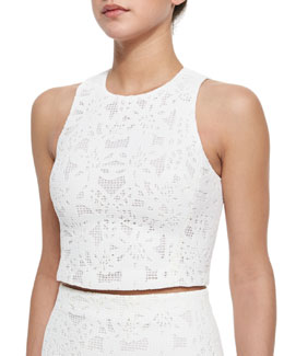 Netted Lace Sleeveless Crop Top