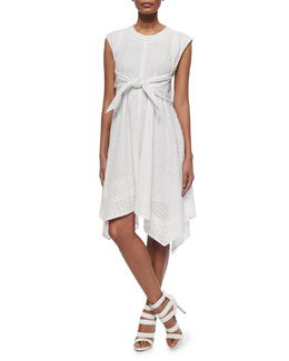 Netted/Eyelet Tie-Waist Dress
