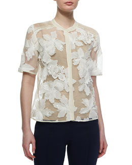 Floral-Applique Sheer Camp Blouse