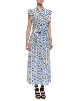Printed Flutter-Sleeve Maxi Dress