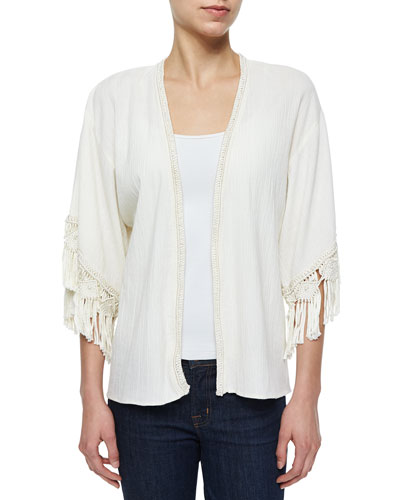 Olami Crochet-Trim Sheer Cardigan