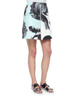 Printed Front-Zip Miniskirt