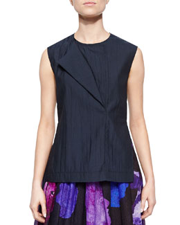 Novara Overlapping Sleeveless Shantung Top