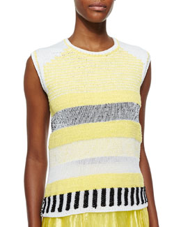 Grid-Pattern Sleeveless Knit Top
