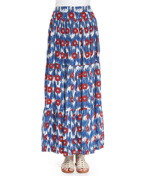 Christophe Sauvat Ikat-Print Tiered Maxi Skirt