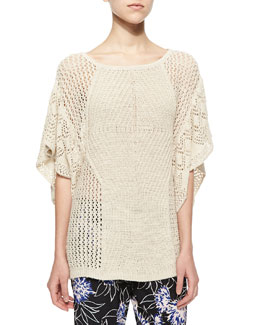 Wide-Knit Flutter-Sleeve Top