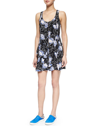 Floral-Print Front-Zip Dress