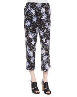 Floral-Print Cropped Silk Pants