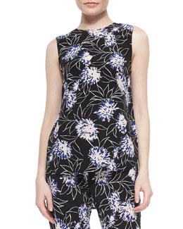 Floral-Print Loose Sleeveless Top