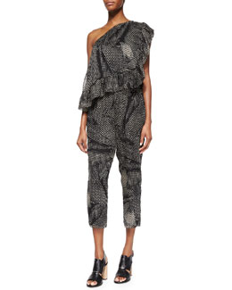 Printed Ruffled One-Shoulder Jumpsuit