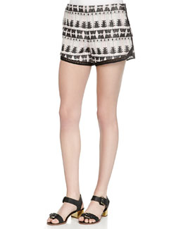 Tribal-Pattern Relaxed Shorts