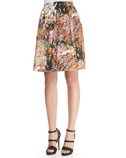Forest-Print Pleated Poplin Skirt