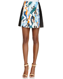 Printed/Solid Cady A-Line Skirt