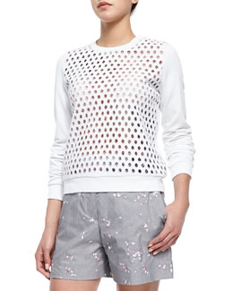 Perforated-Front Long-Sleeve Sweater
