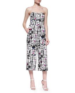 Strapless Splatter-Print Jumpsuit