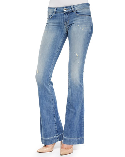 Love Story Faded Distressed Flare Jeans