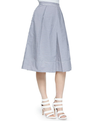 Striped Pleated Shirting Skirt