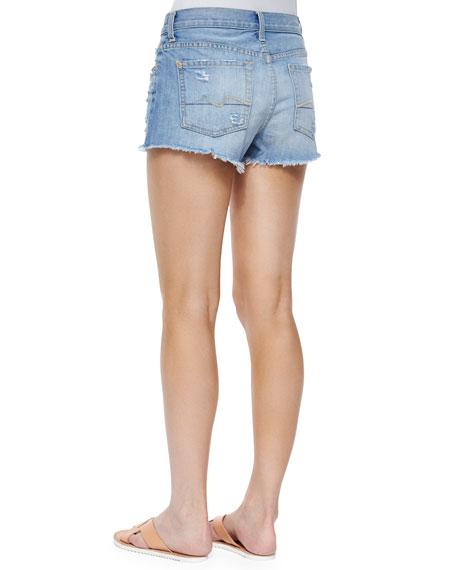 Distressed Cutoff Shorts, Aura Blue Heritage