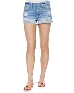 Distressed Cutoff Shorts, Aura Blue Heritage