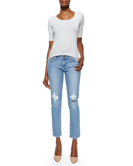 Skyline Boot-Cut Ankle Jeans, Serena Destructed