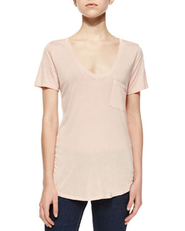 Lynnea Short-Sleeve Jersey Tee, True Blush