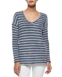 Martine Long-Sleeve Striped Top, Blue/White