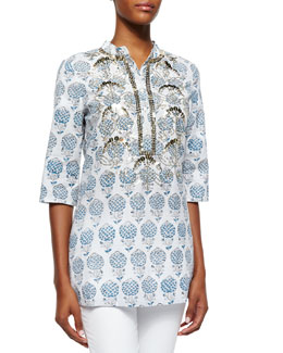 Jasmine Printed Beaded Cotton Tunic