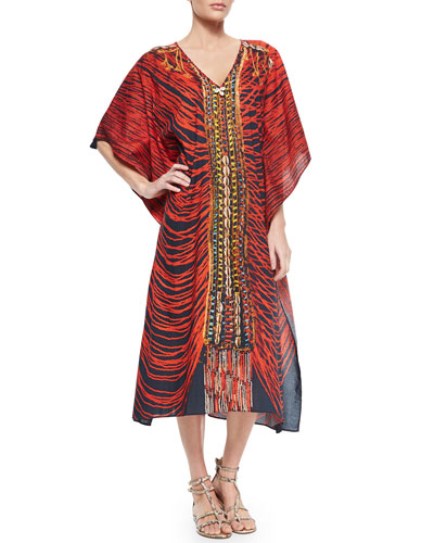 Eliza Printed Beaded Caftan Coverup