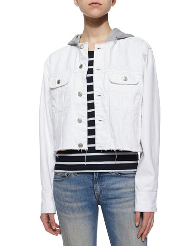 Cropped Boyfriend Denim Jacket, White Selvage