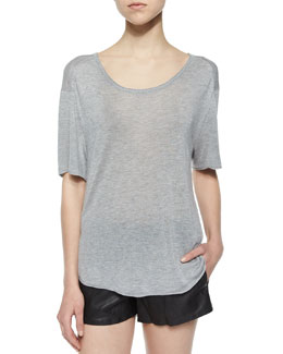Melissa Vented Slub-Jersey Tee, Light Gray