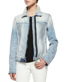 Jeti Tiered Denim Jacket, Destroyed Haze
