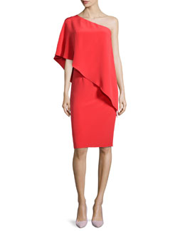 One-Shoulder Cape Cocktail Dress, Poppy