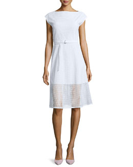 Afala Belted Netted A-Line Dress