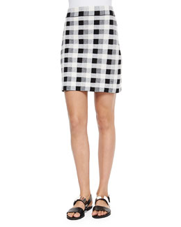 Holeen Magnified Plaid Pencil Skirt